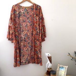 Democracy L/XL sunflower kimono bell sleeves